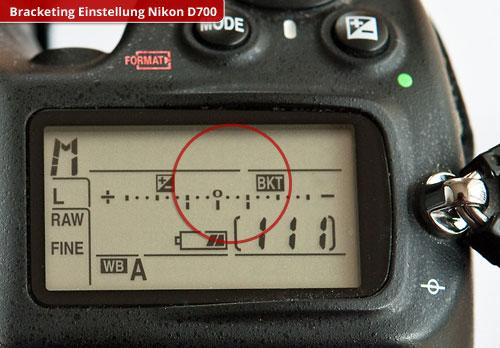 1. Die Bracketing Einstellung (BKT) in drei Belichtungsstufen an der Nikon D700 – hier eine Verdopplung und eine Halbierung der Zeit. Foto © Dietrich Hackenberg