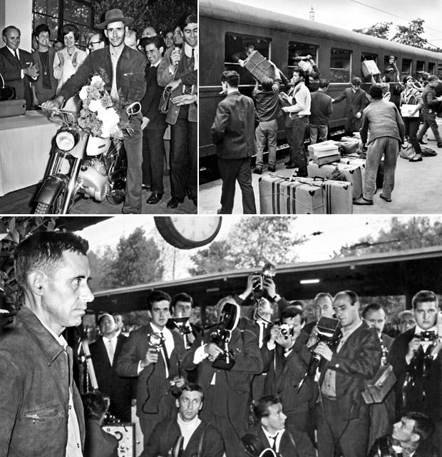 Der portugisische Gastarbeiter Armando Rodrigues mit seinem geschenkten Moped. Szenen auf dem Bahnsteig. Köln-Deutz, 1964 - Fotos Helmut Koch
