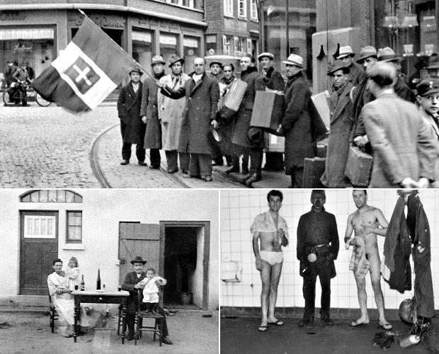 Ankunft von Italienischen Arbeitern in Hattingen 1940er, Italienische Arbeiterfamilie in Bottrop 1910er und Italienischer Bergmann in der Weiss-Kaue Gelsenkirchen 1960er. Quellen: Stadtarchiv Hattingen, Quadrat Bottrop und privat