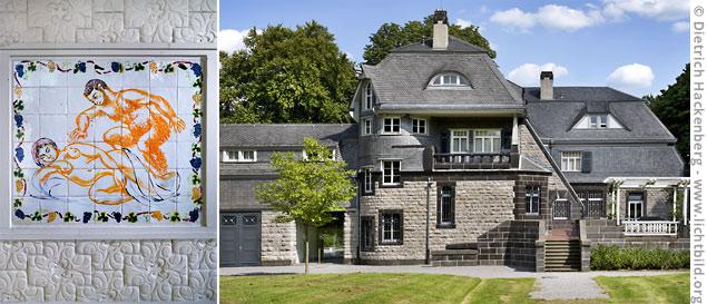 Der Hohenhof in Hagen, das Gesamtkunstwerk des Hagener Impulses und Wohnhaus von Karl-Ernst Osthaus, ist heute ein Museum. Links: Wandkacheln von Matisse im Wintergarten des Hohenhofes. © Dietrich Hackenberg