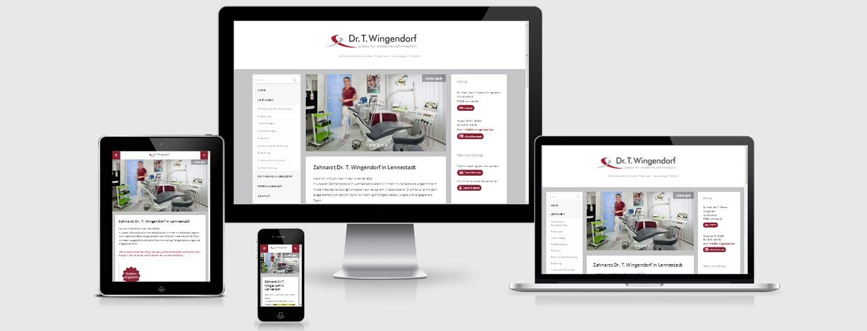 Screenshot der Webseite ami.responsivedesign.is mit Zahnarztwebseite auf simulierten Monitoren