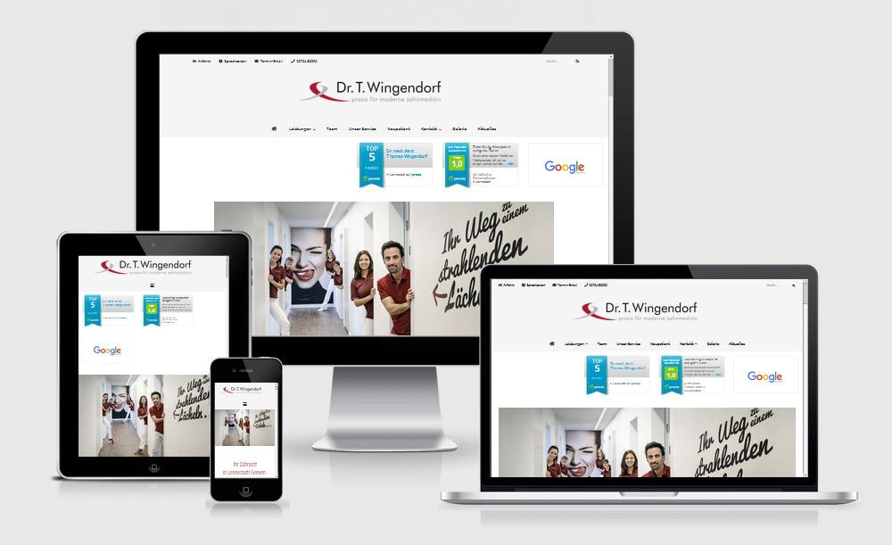 Webseite der Zahnarztpraxis Dr. Wingendorf  — Ansicht der Seite auf Desktop-Monitor (1600x992px), Laptop (1280x802px), Tablet (768x1024px) und Smartphone (320x480px).  Simuliert auf der Webseite ami.responsivedesign.is/