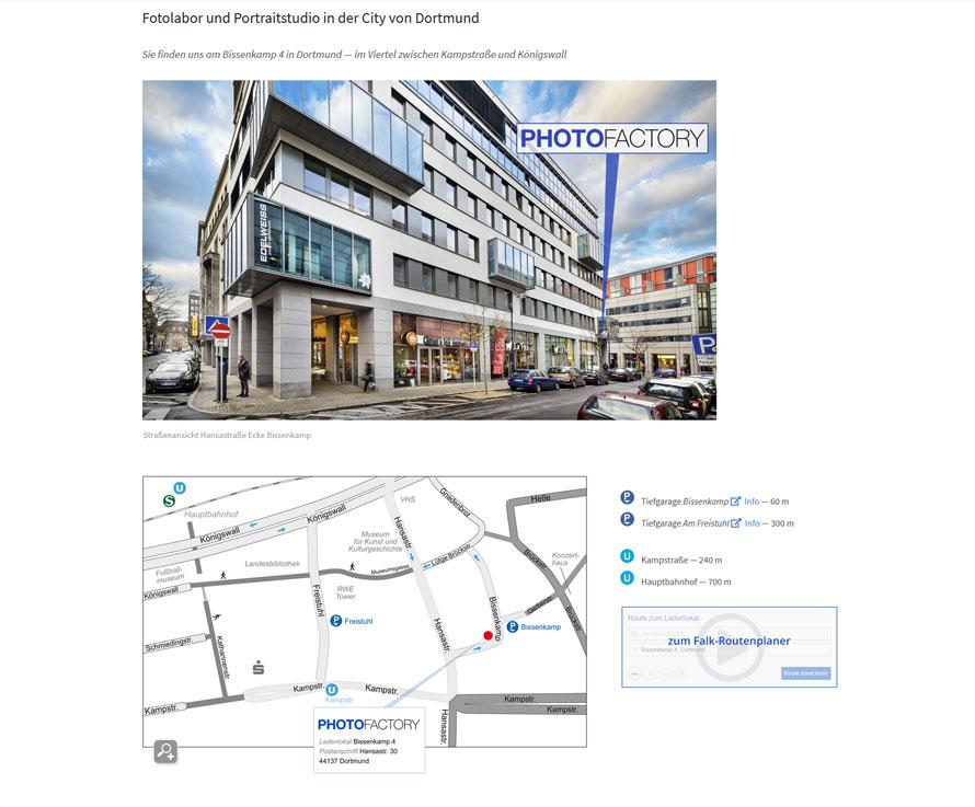 Webseite Anfahrt PHOTOFACTORY