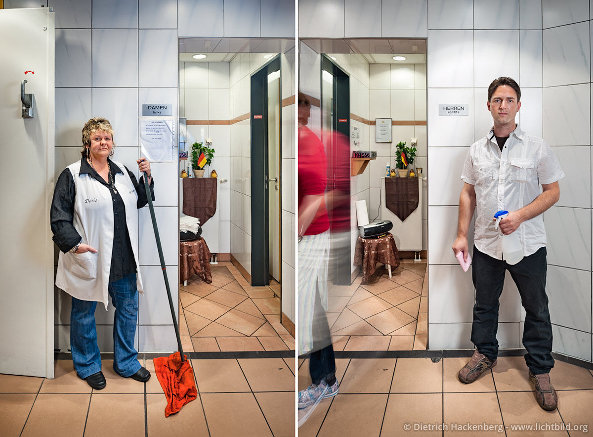 Doris und Torsten betreuen eine WC-Anlage in einem Kaufhaus. Als Angestellte eines Pächters wechseln sie sich in Früh- und Spätschichten ab. Foto © Dietrich Hackenberg