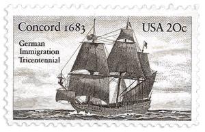 Auswandererschiff Concord auf einer Briefmarke der USA