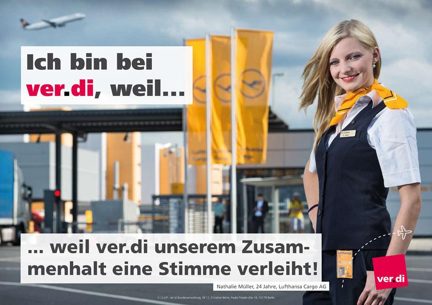 Entwurf des ver.di Plakates der Lufthansa Cargo Mitarbeiterin.
