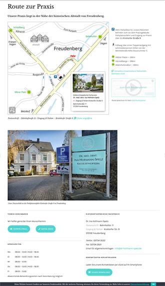 Screenshot Webseite Anfahrt mit Karte, Routenplaner und Parkinfos