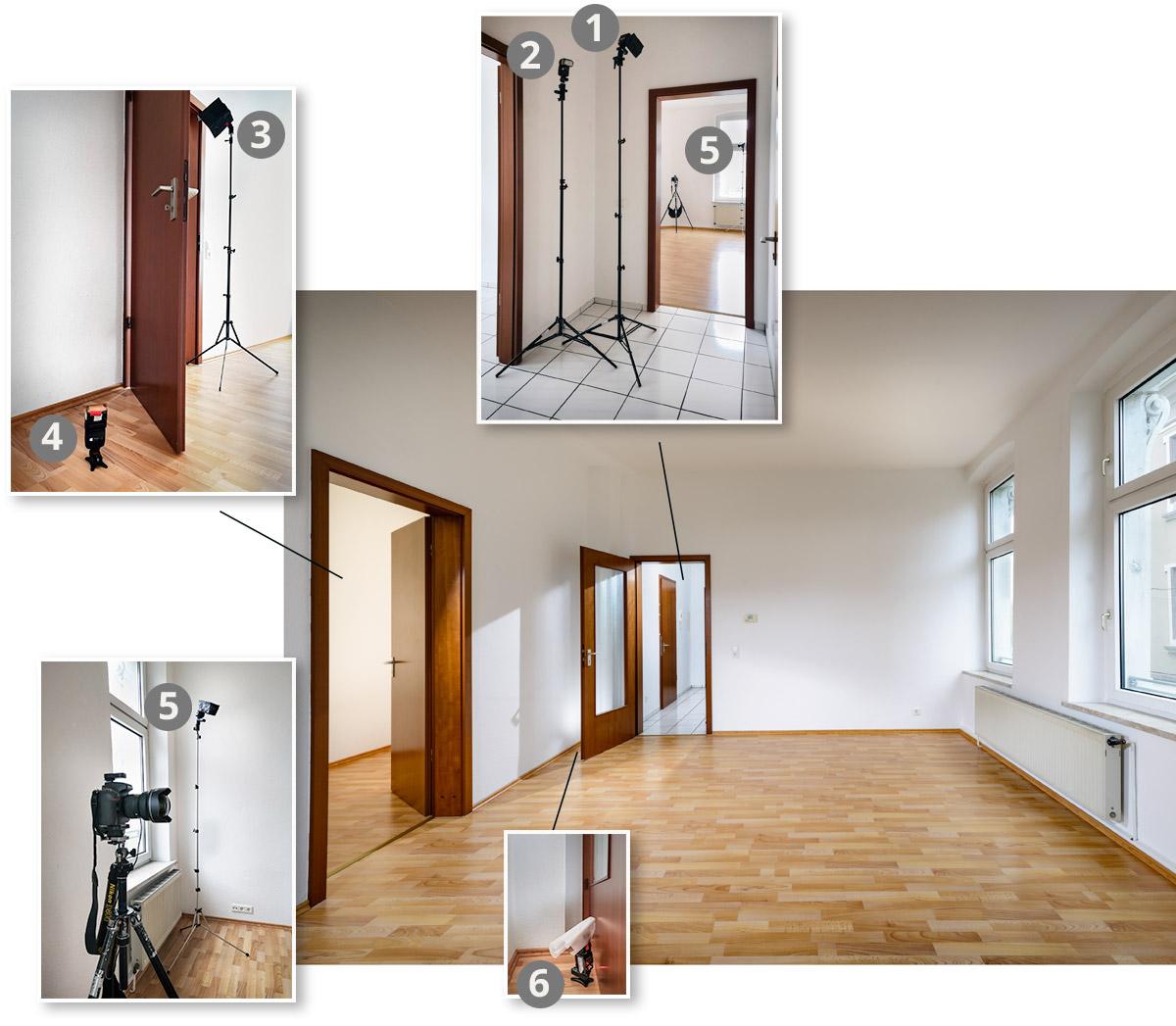 Positionen der Blitze. Mietwohnung fotografieren für die Immobilienanzeige.