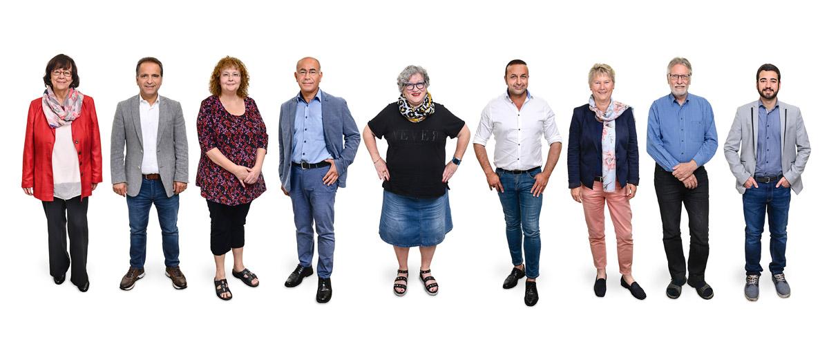 """Partei """"DIE LINKE"""" - Kandidierende für den Rat der Stadt Duisburg 2020 - Listenplatz 1 bis 10. Fotos und Montage: Dietrich Hackenberg - www.lichtbild.org"""