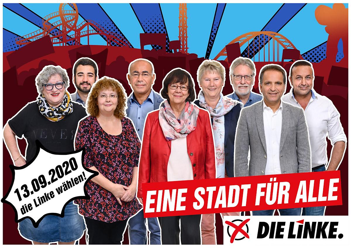 Die Linke Duisburg - Grossplakat Kandidaten Kommunalwahl 2020. Grafische Gestaltung Sarah Seiffert