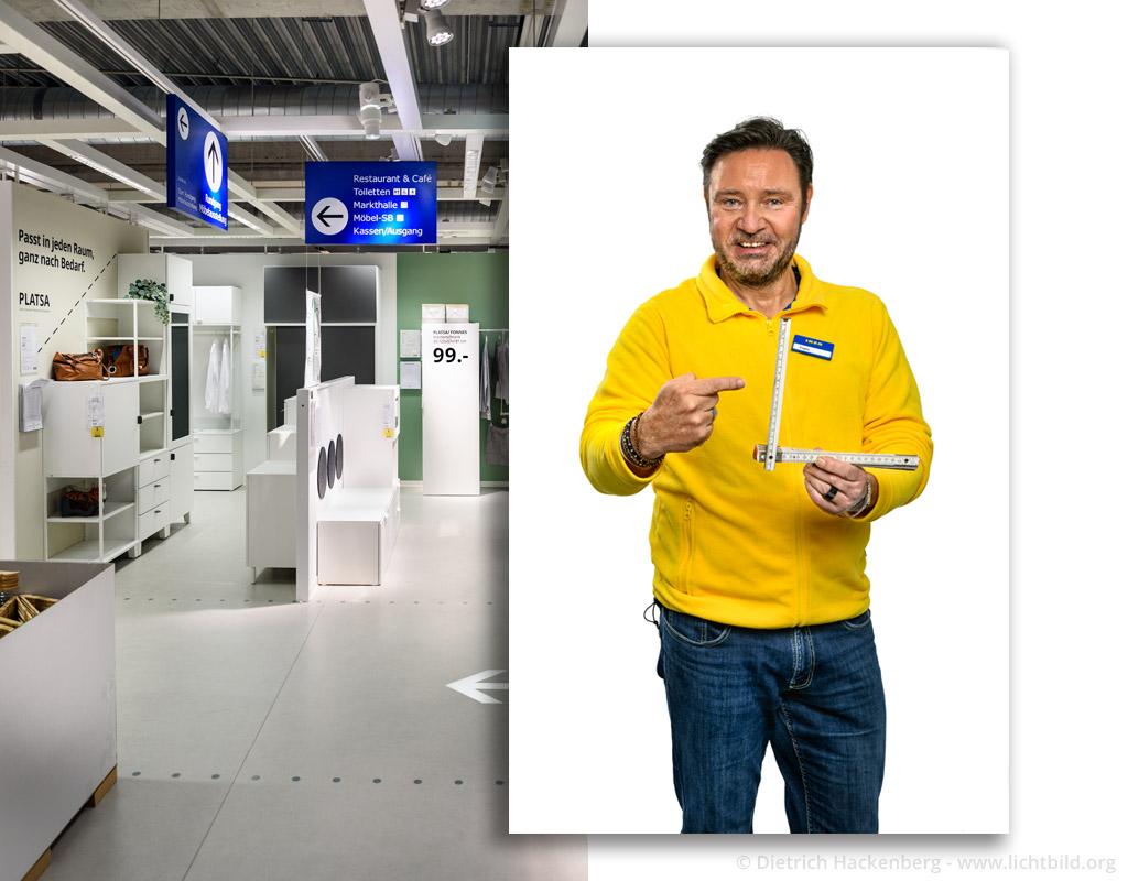 Montage eines freigestellten Portraits des Mitarbeiters — fotografiert im Studio — auf einen passend fotgrafierten Hintergrund im Ikea-Schauraum. Foto © Dietrich Hackenberg