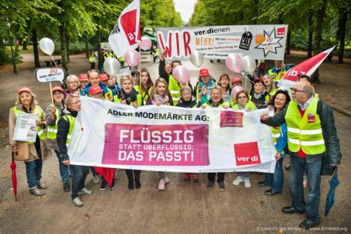 Aktionstag für allgemeinverbindliche Tarifverträge im Handel - AVE; Hofgarten Düsseldorf 2017. Foto Dietrich Hackenberg