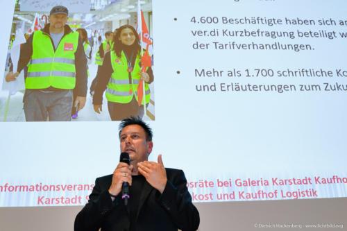 verdi Handel NRW Betriebsräte-Versammlung Essen zur Schließung der Galeria Karstadt Kaufhof Filialen Foto © Dietrich Hackenberg