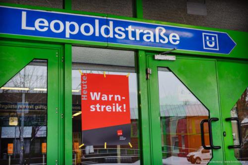 Warnstreik des öffentlichen Dienstes am 20.03.2018. Ubahn Leopoldstraße