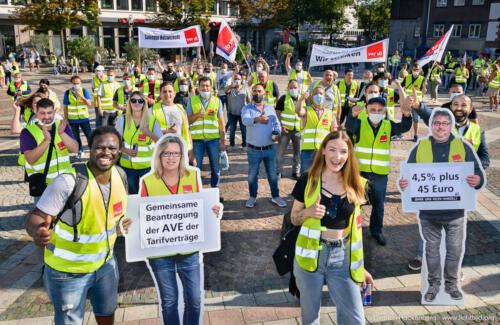 Zentrale Streikveranstaltung ver.di Handel NRW auf dem Friedensplatz Dortmund am 09.09.2021. Foto Dietrich Hackenberg